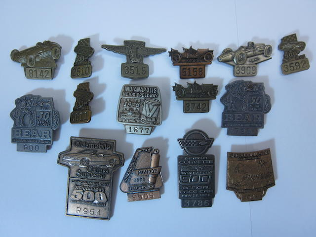 A collection Indianapolis 500 press/pit badges,