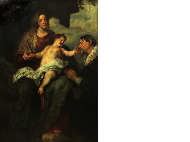 After Sir Anthony van Dyck Madonna and Child with donors 64 1/4 x 45 1/4in