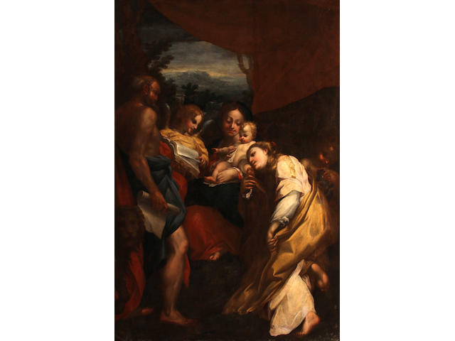 After Antonio Allegri, called il Correggio Madonna and Child with Saints Jerome and Mary Magdalen (The Day) 82 1/2 x 56in