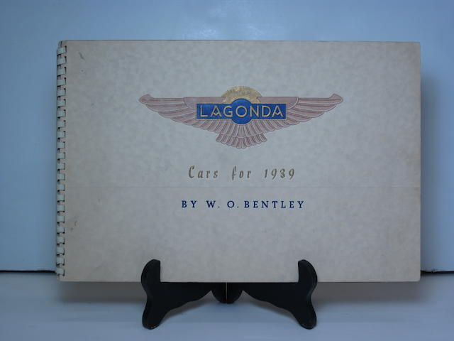 A 1939 Lagonda by W.O. Bentley sales brochure,