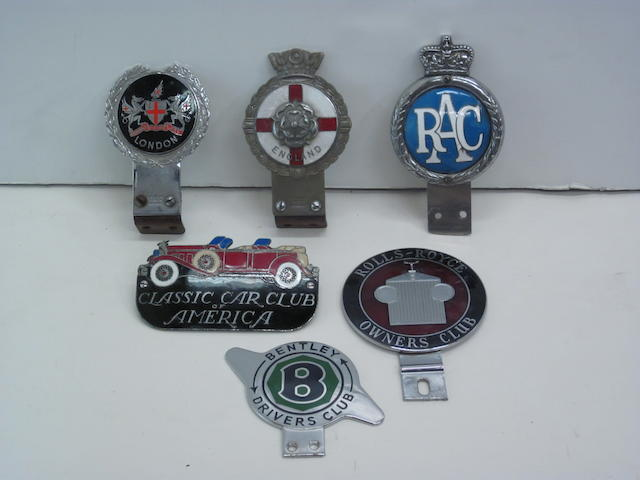 An ensemble of English grille badges,