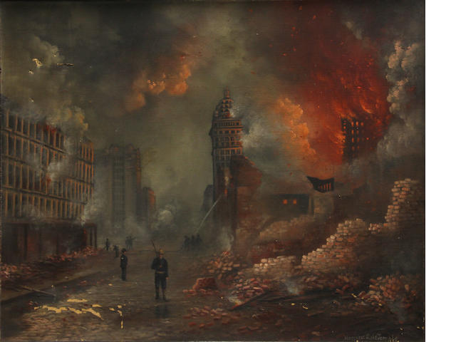 Margaret S. de Temple (American, born 1885) The Call Building from Market Street in the aftermath of the 1906 earthquake 20 x 25 3/4in