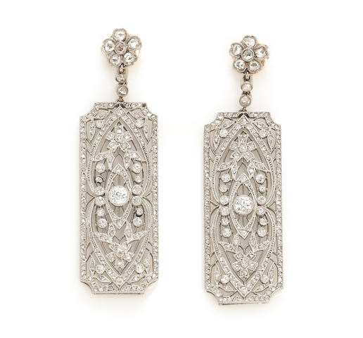 A pair of diamond filigree pendant earrings, French