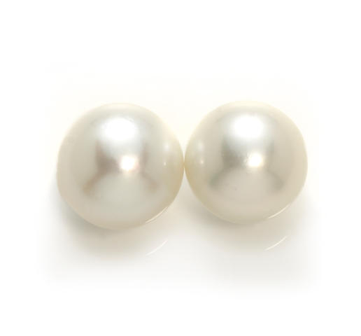 A pair of South Sea cultured pearl solitaire earrings