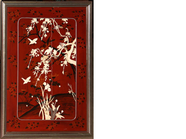 A pair of polychrome lacquered wood panels with overlay decoration Meiji/Taisho period