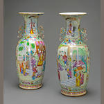 A pair of famille-rose enameled export porcelain handled vases 19th century