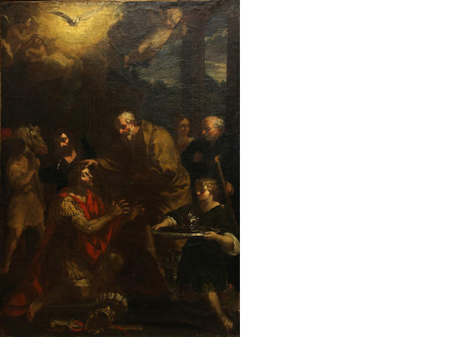 After Pietro da Cortona, 17th Century Ananias restoring the sight of Saint Paul 66 3/4 x 48in