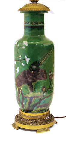 A Chinese famille verte porcelain baluster vase mounted as a lamp base late 19th/early 20th century