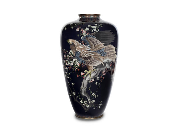 A massive cloisonne vase with eagle design