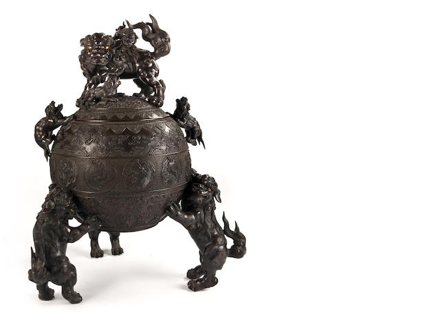 A massive bronze incense burner with shishi by Suzuki Masayoshi