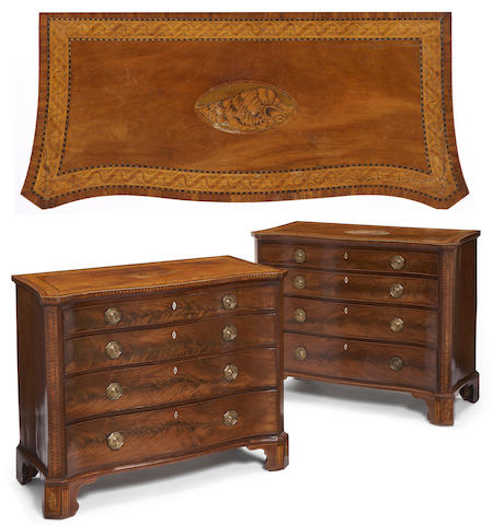 A fine and impressive pair of George III inlaid mahogany serpentine chests fourth quarter 18th century