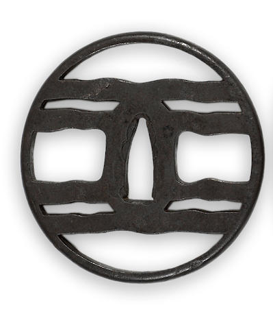 An iron tsuba Late Edo period, Myochin school