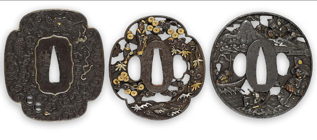 A group of three iron tsuba Edo period
