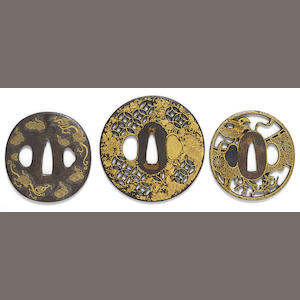 A group of three inlaid iron tsuba. Edo period
