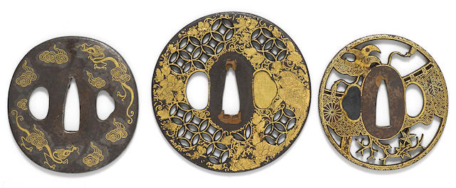 A group of three inlaid iron tsuba<BR />Edo period