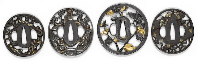 A group of four iron tsuba<BR />Edo period