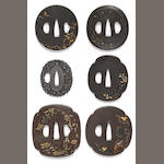 A group of six iron tsuba