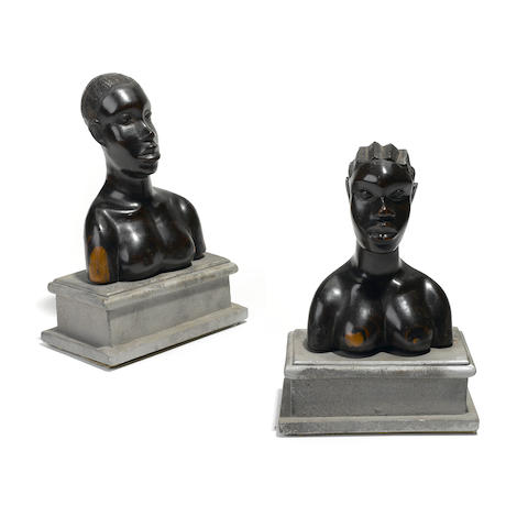 A group of two African busts height 8 3/4in; width 5 1/2in; depth 3 1/2