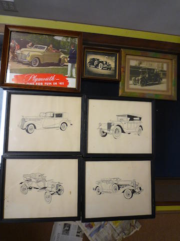 A comprised lot of vintage automobile prints,
