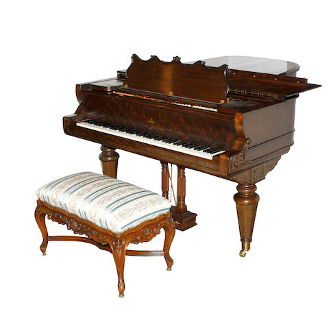 A Steinert mahogany grand player piano