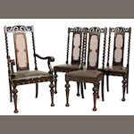 A set of twelve Charles II style dining chairs