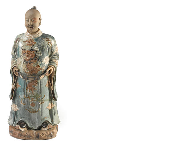 A large polychrome glazed stoneware figure of an official South China, 20th century
