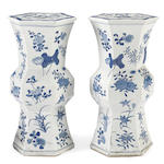 A pair of blue and white porcelain plant stands Late Qing dynasty