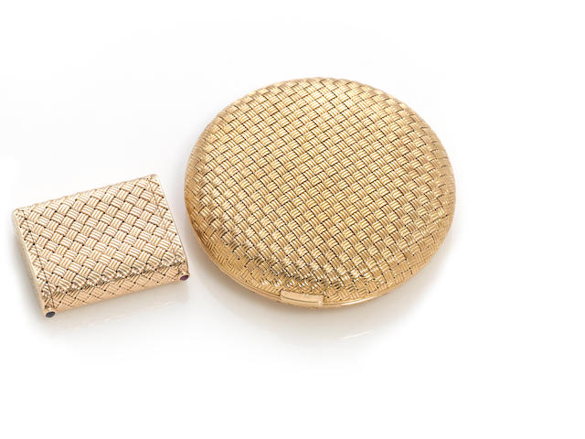 A 14k gold basket-weave pillbox together with an eighteen karat gold compact of similar motif