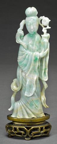 A carved jadeite figure of a beauty