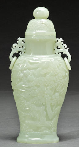 A white jade covered vase