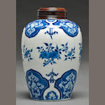 A blue and white porcelain ginger jar with floral decoration Kangxi period