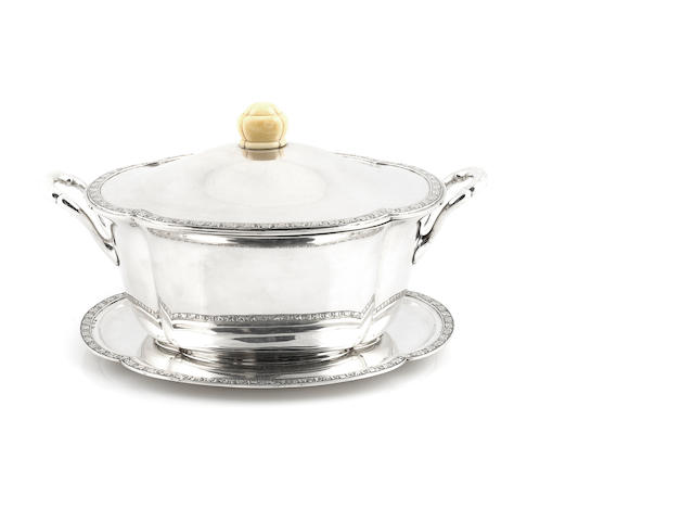 A Portuguese silver tureen and stand