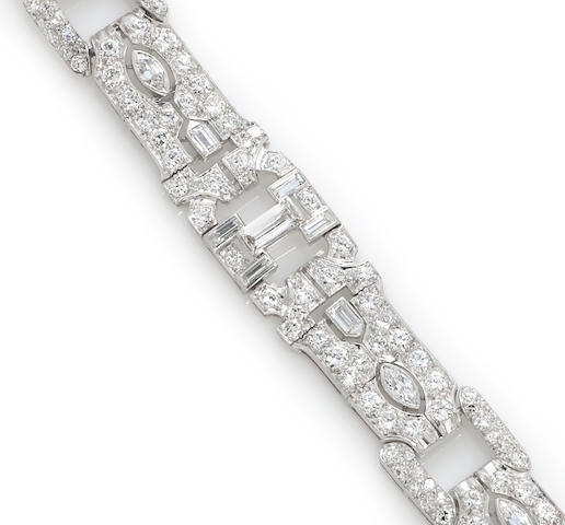An art deco diamond and platinum bracelet