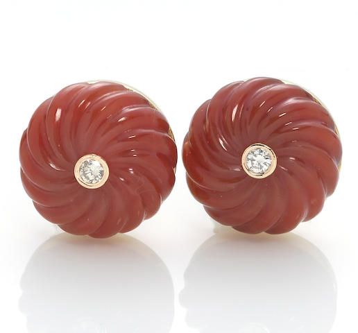 A pair of carnelian and diamond earrings, Cartier