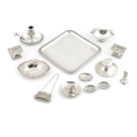An assembled group of American, Continental, English and Mexican silver tableware and accessories 20th century