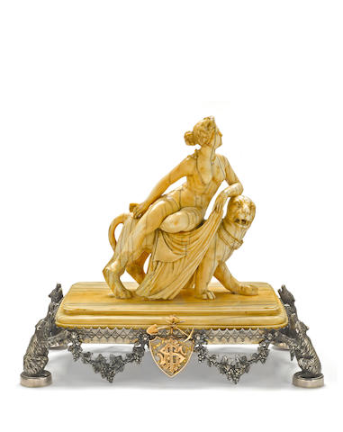 A rare San Francisco silver, gold, gold quartz and ivory presentation piece made for The Crown Point Gold and Silver Mining Company<BR />Koehler & Ritter (1867-1884) of San Francisco