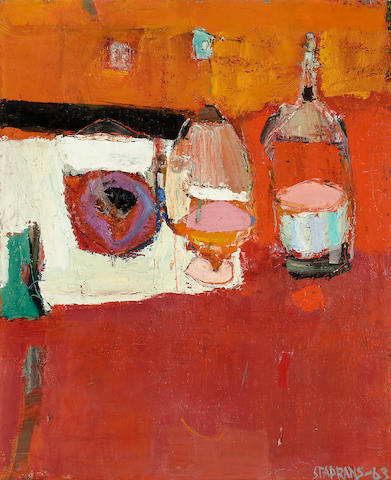 Raimonds Staprans (born 1926) Still life with three bottles, 1963 34 x 28in (86.4 x 71.1cm)