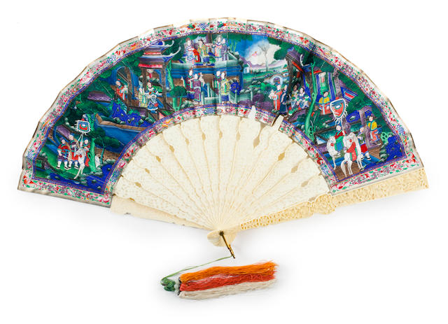A painted and carved ivory fan with original lacquer box  Canton school, circa 1860