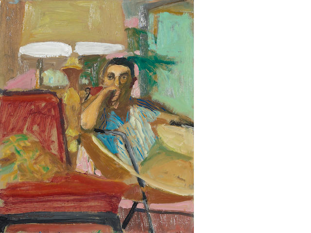 Paul Wonner (1920-2008) Man seated in a chair, 1964 10 1/8 x 8 1/2in (25.7 x 21.6cm)