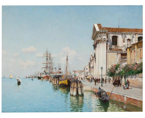 Federico del Campo (Peruvian, 1837-1923) A Venetian canal with views of Santa Maria della Visitatione and Santa Maria del Rosario 12 1/2 x 16in (31.8 x 40.5cm)