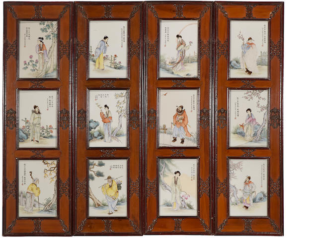 A set of twelve famille rose enameled porcelain plaques 20th century