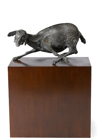 Jack Zajac (born 1929) Bound goat 10 1/2 x 20 1/4 x 13in (26.7 x 51.4 x 33cm)<BR />height with base 30 1/2in (77.5cm)