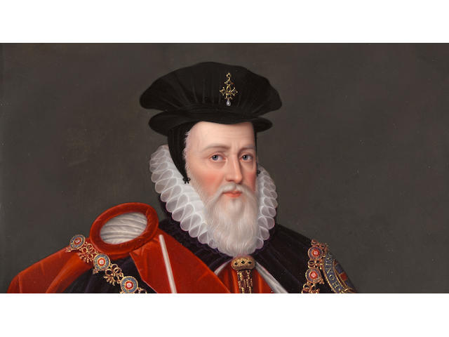 A fine enamel portrait of William Cecil, Lord Burghley (1520 - 1598)<BR />Henry Bone, R.A. (British, 1755-1834)<BR />dated April 1812