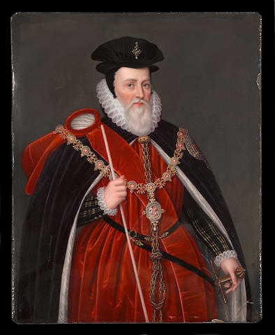 A fine enamel portrait of William Cecil, Lord Burghley (1520 - 1598) Henry Bone, R.A. (British, 1755-1834) dated April 1812