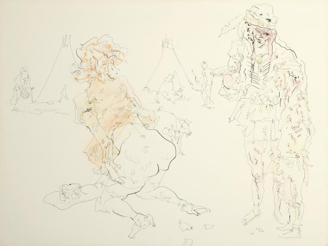 John Altoon (1925-1969) Untitled (from the Cowboy and Indian series), 1968 30 x 40in (76.2 x 101.6cm)