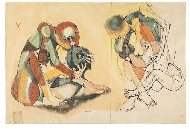 Dumile Feni-Mhlaba (Zwelidumile Mxgazi) (South African, 1942-1991) Figure Studies 50.8 x 66cm (20 x 26in.)