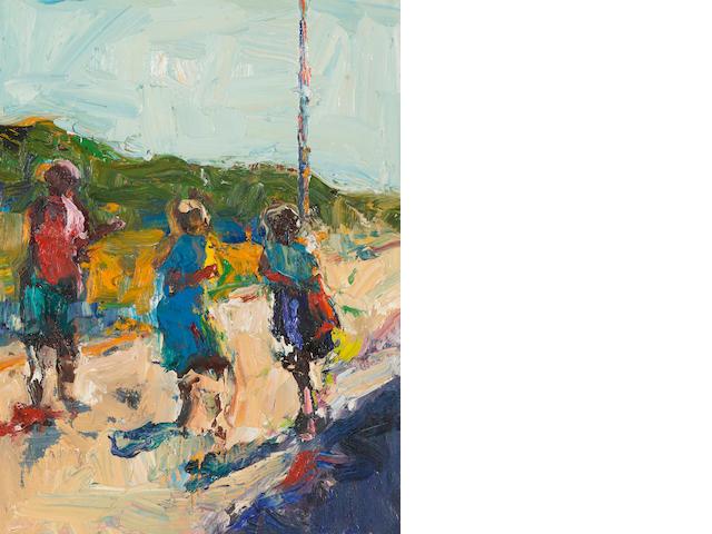 Dennis Hare (born 1946) Three girls on a road, c. 1990 18 x 14in (45.7 x 35.6cm)