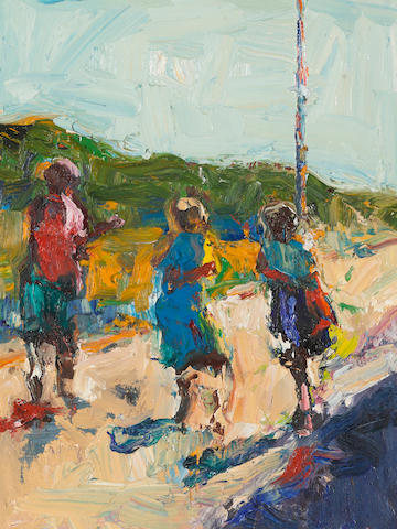 Dennis Hare (born 1946) Three girls on a road, c. 1990 18 x 14in (45.7 x 35.6cm)