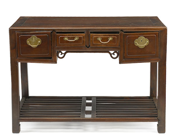 An export style mixed hardwood desk Late Qing/Republic period