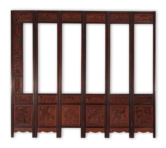 A six-panel hardwood screen